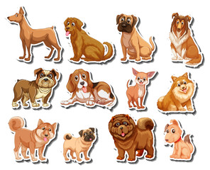 Stickers of different kind of dogs