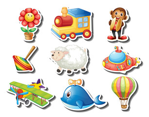 Different kind of toys sticker