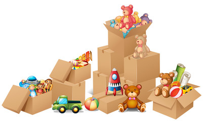 Boxes full of toys and bears