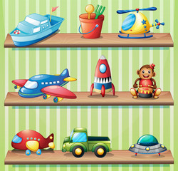 Different toys on shelves