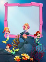 Wooden frame with mermaid underwater