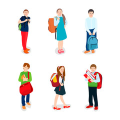 cute pupils in school uniform with backpacks and books