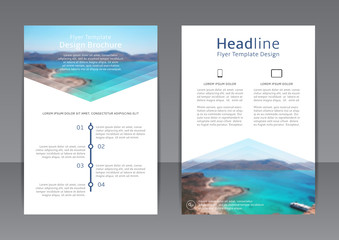 Vector design of the blue and white flyer with beautiful sea landscape. Vector template of brochure for your business in A4 size. Corporate style of presentation.