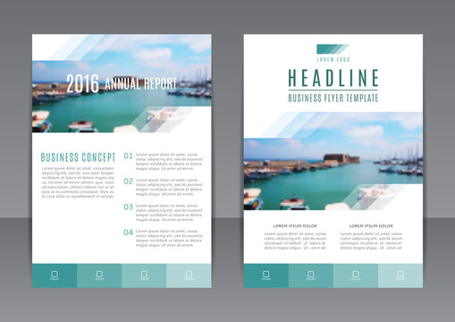Vector design of the annual report with beautiful sea landscape. Vector template of flyer for your business in A4 size. Corporate style of presentation.