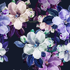 Spring blooming lilac branch i flower apple  seamless pattern
