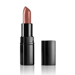 Product shot of a lipsticks isolated on a white background. Background for cosmetics advertising. Concept image with big copy space.