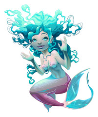Young mermaid with white background