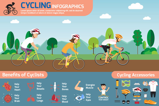 Cycling infographics. concept cycling with smiling cartoon man a