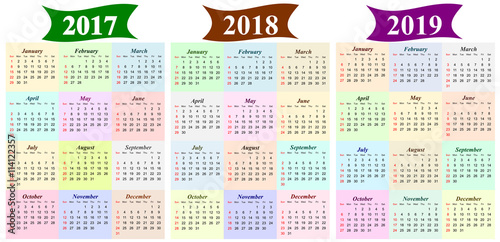 three year calendar 2017 2018 and 2019