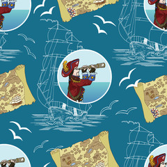 Pirate background with captain, map and ship on blue