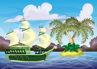 Seamless cartoon vector island with separated layers for game and animation, game design asset