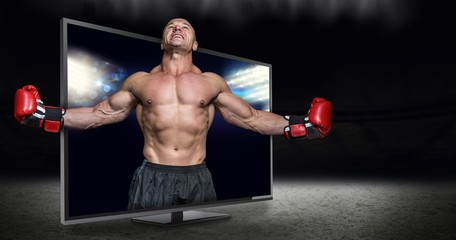 Composite image of boxer with arms outstretched