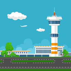 Airport Terminal, Runway at the Airport with Control Tower ,Travel and Tourism Concept ,Vector Illustration