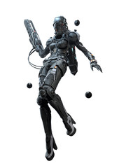 3D illustration cyborg girl flying with a weapon in her hand