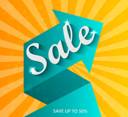 Sale arrow banner. Sale background. Sale tag. Sell vector. Sale and special offers. 50% discount. Vector illustration.