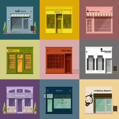 Different shops and stores icons set,vector,illustration