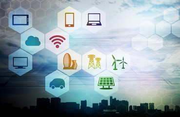 smart city and internet of things, abstract image visual
