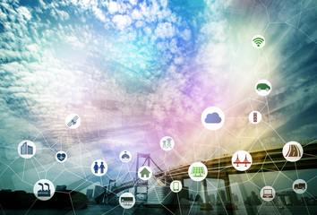 smart city and internet of things, various communication devices, architecture, transportation, industry, infrastructure,medical, home electronics, abstract image visual