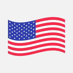 Waving American flag icon. Isolated. Whte background. Flat design.