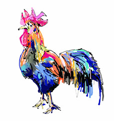 original retro chickendigital painting drawing, symbol of 2017 n
