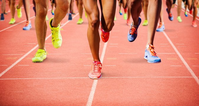 Composite image of close up of sportsman legs running