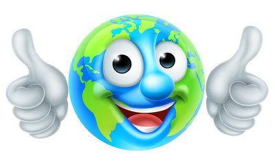 Earth Globe Cartoon Character