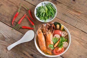 Tom Yum Goong,Thai Cuisine. Top view.