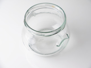 glass jar on a gray background