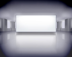 Exposition in art gallery. Vector illustration.