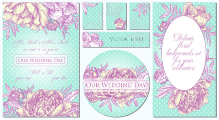 Set of templates for celebration, wedding. Vector illustration of flowers. Backgrounds with beautiful peonies.