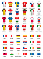 Collection of various soccer jerseys and flags of countries.  Ve