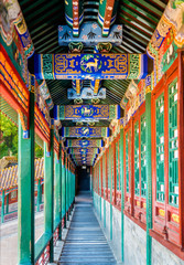 Foto auf Leinwand Beijing Corridor in the Summer Palace in Beijing