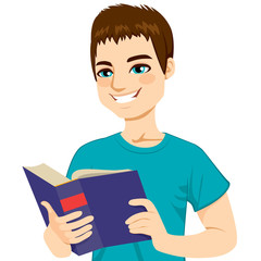 Young brown haired man happy enjoying reading big thick book