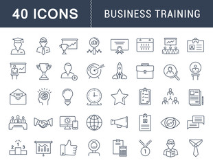 Set Vector Flat Line Icons Business Training