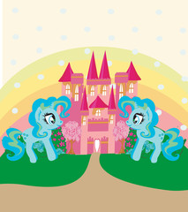 Poster Card with a cute unicorns rainbow and fairy-tale princess castle