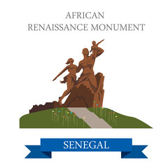 African Renaissance Monument in Dakar in Senegal illustration