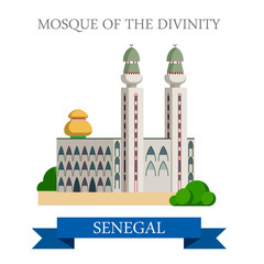 Mosque of the Divinity in Dakar Senegal Flat vector illustration