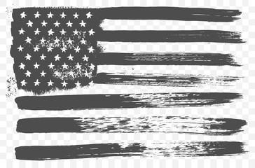 American national flag in black and white grunge style isolated on a transparent background. Vector grunge flag of United States of America the horizontal orientation. USA flag.