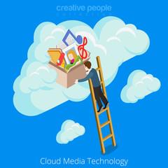 Cloud media technology concept web site vector illustration