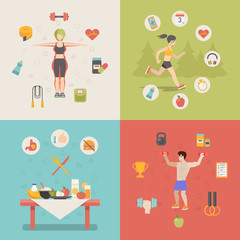 Healthy life concept vector illustration set people sports food