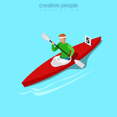 Isometric kayaker rowing sports Flat 3d isometry web vector.