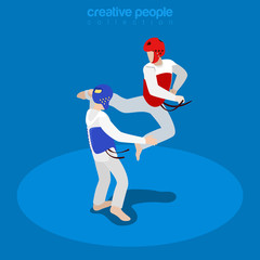 Isometric wrestling fight sports Flat 3d vector illustration.