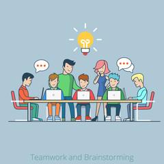 Idea brainstorming creative team flat vector infographics