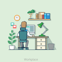 Linear flat line art business office interior desk people vector