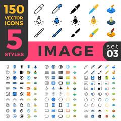 Photo Image 150 line flat isometric mobile web site icon set
