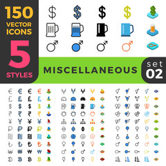 Miscellaneous 150 line flat isometric mobile web site icon set