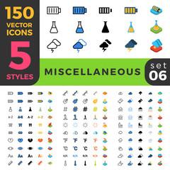 Miscellaneous 150 line flat isometric mobile web site icon set