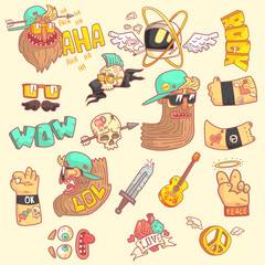 Set Of Stylized Rock Themed Stickers