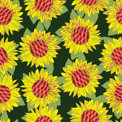 Hand drawn sunflower flower seamless pattern
