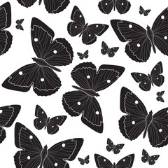Elegant black butterfly seamless pattern sketch. Black and white butterfly background. Vector illustration